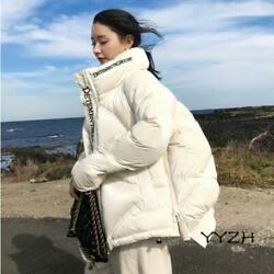 Winter Womens Stylish Stand Collar Cocoon Style Embroidered Short Warm Down Coat