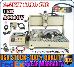 Usb 4 Axis Router Machine Cnc 6090 Engraving 2200w Drill Milland Remote Controller