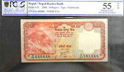 Pcgs 55 Opq Aunc Nepal Rs 20 Solid 666666 Banknote +free 1 B.note D7489
