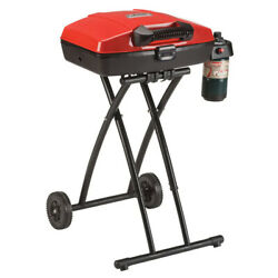 Portable Gas Grill Foldable Outdoor Bbq With Wheels And Lid Red