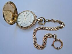 Original Antique Old Pocket Watch U.s.a. 9k Solid Gold Watch 3 Covers Rare Chain