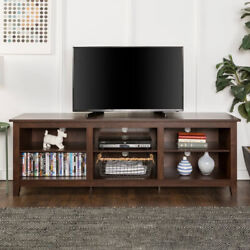 Tv Stand Media Console Table Open Shelf Storage For Tvs Up To 80 Dark Brown
