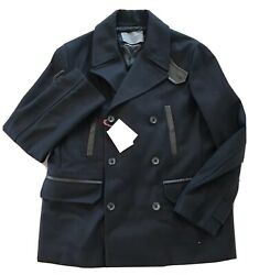 2350 Bally Navy Wool Peacoat With Leather Size Us Xxl Eu 56 Made In Italy