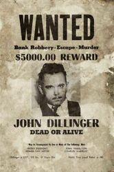 3 John Dillinger Wanted Bank Robbery Heavy Duty Usa Made Metal Adv Sign