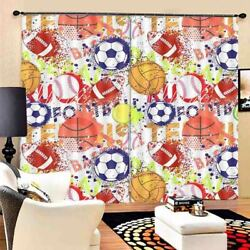 Red Baseball Gradient 3d Curtain Blockout Photo Printing Curtains Drape Fabric