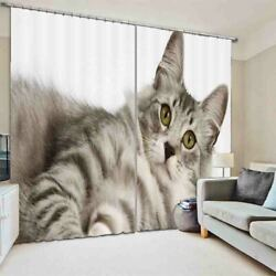 Grey Fat Cat Confused 3d Curtain Blockout Photo Printing Curtains Drape Fabric