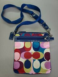 COACH Crossbody Authentic Multi Color Canvas With Logo Tags $19.99