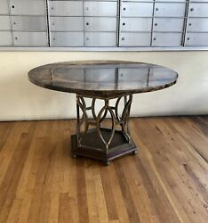 Rare Dinning Table By Aldo Tura Goatskin Top And Brass Base
