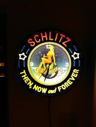 Rare Schlitz Light Up Beer Lanshire Clock Then Now Forever Extremely Hard Find