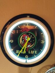 Miller High Life Vintage Clock Neon Girl On The Moon Rare 23 Large