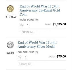 2020 End Of Ww2 75th Anniversary 24k Gold + Silver Medal Set 🚨ready To Ship🚨
