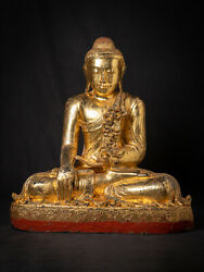 Large Old Wooden Mandalay Buddha From Burma, Early / Middle 20th Century