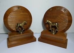 Vintage Pair Of Carved Wood And Brass Show Horse Bookends Book Ends Western Usa