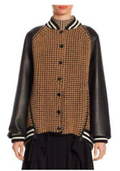 Akris Leather And Cashmere Bomber Jacket In Black-camel - Size 2