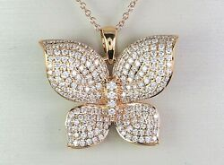 4800 18k Rose Gold Pave Round Diamond Butterfly Pendant 18and039and039 Chain Necklace