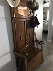 Vintage 1900's Oak Hall Tree Lift Up Seat And Storage With Beveled Mirror