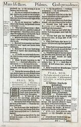 1611 King James Bible Leaf - Ps 91 His Angels Charge Over Thee 1st Ed 1st Issue