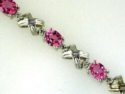 5.95ct Diamond And Aaa Pink Sapphire 14k White Gold Oval And Round X Tennis Bracelet