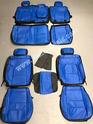 Ram 1500 Big Horn Crew Cab Black And Blue Custom Leather Seat Covers 2019 2020 21