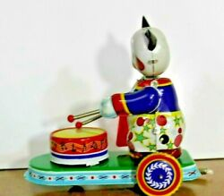 Vintage Tin Litho Wind Up Toy Bear Playing Drum On A Trailer/platform