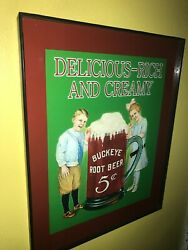 Buckeye Ohio Root Beer Soda Fountain Diner Bar Store Advertising Man Cave Sign