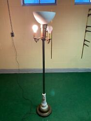 Vintage Antique 4 Socket With Brass And Ceramic Floor Lamp - Local Pickup Only