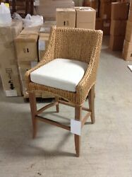 Frontgate Calder Counter Stool 24 Seat Banana Leaf Rattans Seagrass Canvas