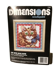 Dimensions Needlepoint Kitty Cat Blue Bow 5x5 Inch