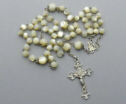 Antique Religious Large Rosary. Silver Mother Of Pearl. Crucifix. Cross Rosarie