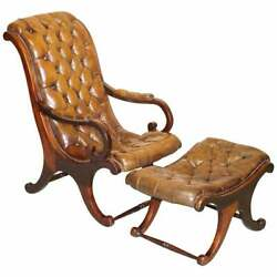 Circa 1890 Chesterfield Brown Leather Library Armchair And Matching Foostool