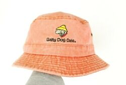 Vintage 90s Salty Dog Cafe Sun Faded Red Bucket Hat Cotton Embroidered Cute $14.99