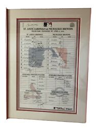Official Game Used Cardinal Lineup Card Framed Professionally
