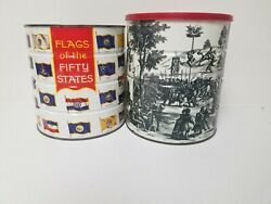Hills Brothers 1969 Coffee Can Renaissance Village Painting Lids Art Edition