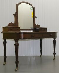 Edwards And Roberts Gillow Quality Mahogany Mirror Back Bow Front Dressing Table
