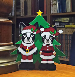 Boston Terrier Mr and Mrs Santa Christmas Tree 6quot; Decor