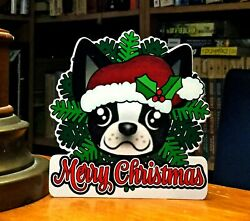 Boston Terrier in a Wreath 6quot; Decor