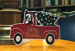 Boston Terrier in a Truck Christmas 6quot; Decor