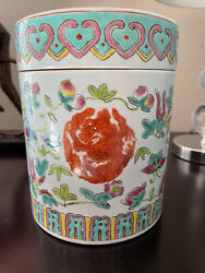 Antique Chinese Famille Rose Porcelain Candy Jar With Original Cover