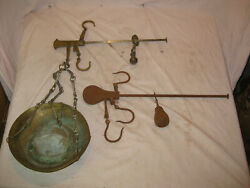 2 Antique Hanging Balance Scales One Brass And One Iron Mercantile Scales Lqqk