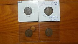 😎 1910 P S 1911 S 1924 D Lincoln Wheat Cent Penny 1c Key Dates 4-piece Coin Lot