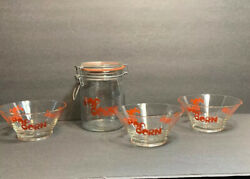 Vintage Wheaton Glass 3 Popcorn Bowls And Canister Jar Red Font Retro Midcentury..