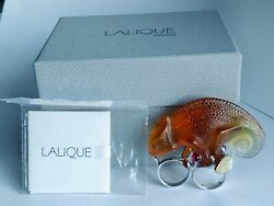 LALIQUE France Crystal Amber Cameleon Two Finger 925 SS Statement Ring with box