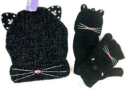 Kitty Cat Black Knitted Girls Hat amp; Half Glove Mittens SET NEW Youth Claire#x27;s