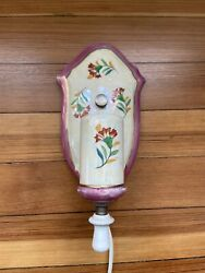 Vintage Porcelain Wall Sconce Light Fixture Hand Painted In Japan