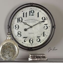 Large Xl 30 Industrial Vintage Iron London Style Wall Clock Aged Face Quartz