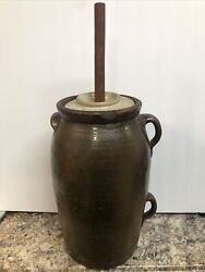 19th Century Primitive 5 Gallon Butter Churn Crock With Stick And Lid