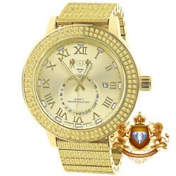 Canary Full Stainless Steel 18k Gold Tone Real Diamond Dial Watch Xl 54mm W/date