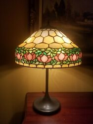 Arts And Craftsnouveau Documented Handel/unique Co.leaded Stained Slag Glass Lamp