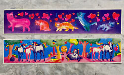 Lot Of 2 Vintage 80s Sticker Lisa Frank Strip Colorful Cats Hearts Music Unicorn