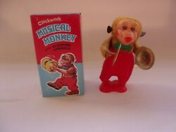 Vintage 80s Clocwork Music Monkey Clashing Cymbals Windup Toy 1762a Old Stock